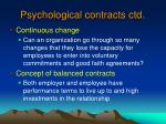 psychological contracts ctd