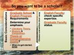 so you want to be a scholar