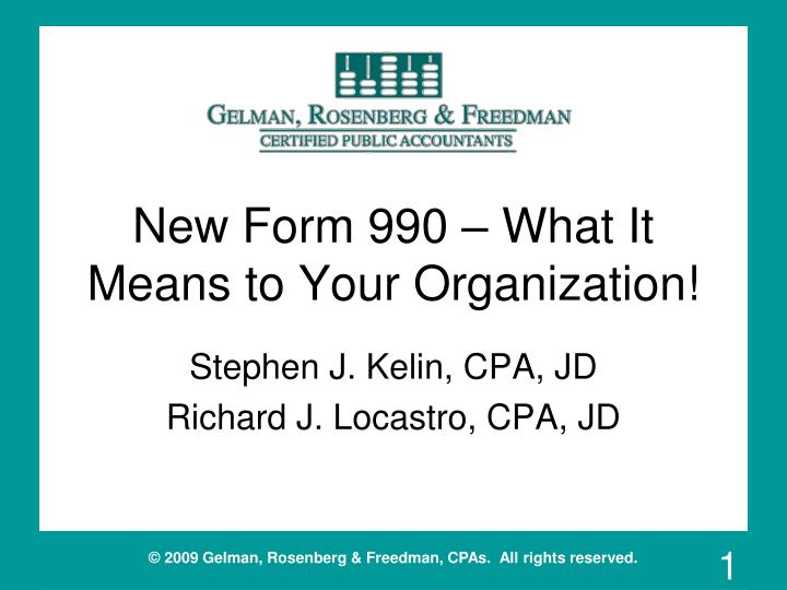 new form 990 what it means to your organization n.