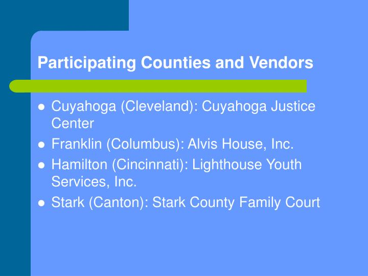 Participating Counties and Vendors