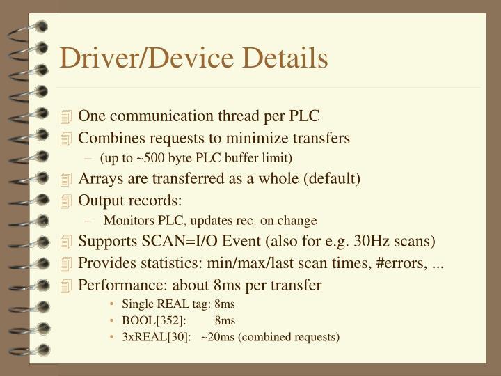 Driver/Device Details