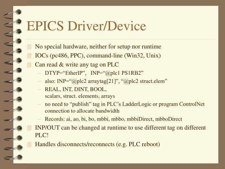 EPICS Driver/Device