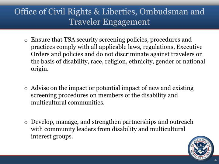 Office of Civil Rights & Liberties, Ombudsman and Traveler