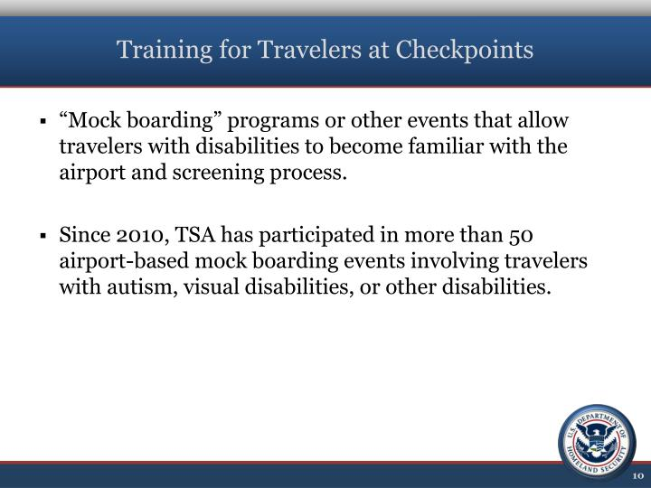 Training for Travelers at Checkpoints