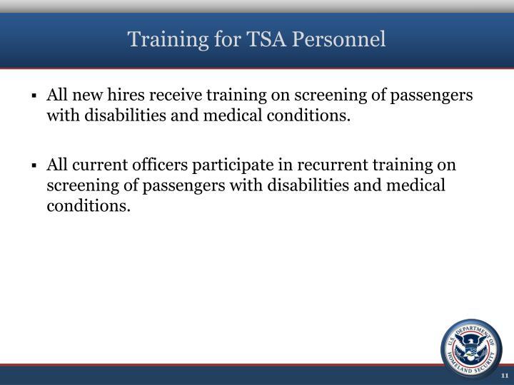 Training for TSA Personnel