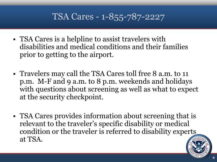 TSA Cares - 1-855-787-2227