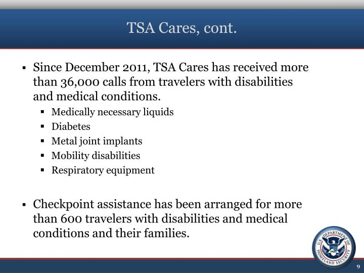 TSA Cares, cont.