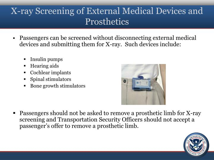 X-ray Screening of External Medical Devices and Prosthetics