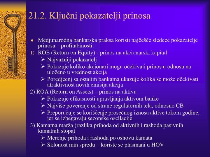 21.2. Ključni pokazatelji prinosa