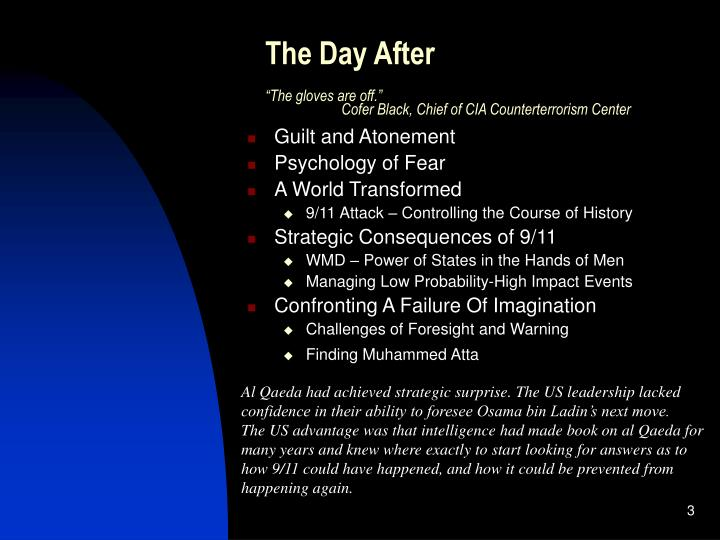 The day after the gloves are off cofer black chief of cia counterterrorism center