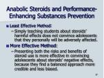 anabolic steroids and performance enhancing substances prevention