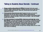 talking to students about steroids continued