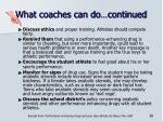 what coaches can do continued