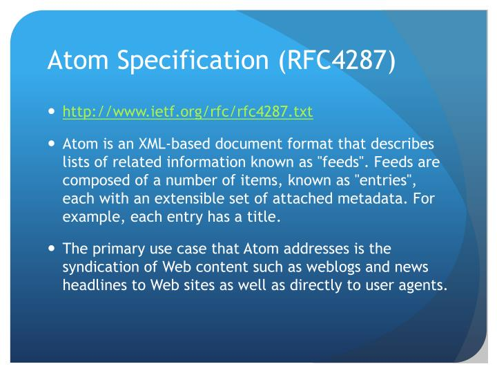 Atom Specification (RFC4287)