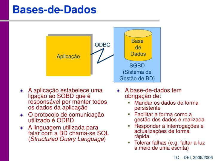 A aplicação estabelece uma ligação ao SGBD que é responsável por manter todos os dados da aplicação