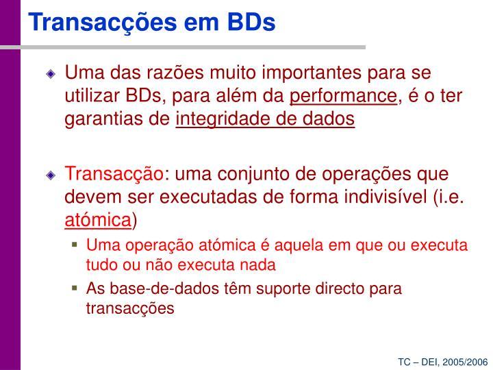 Transacções em BDs