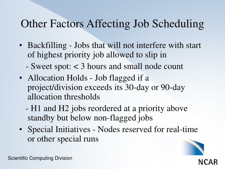 Backfilling - Jobs that will not interfere with start of highest priority job allowed to slip in