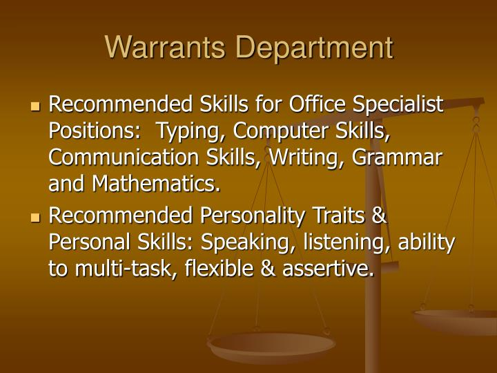 Warrants Department