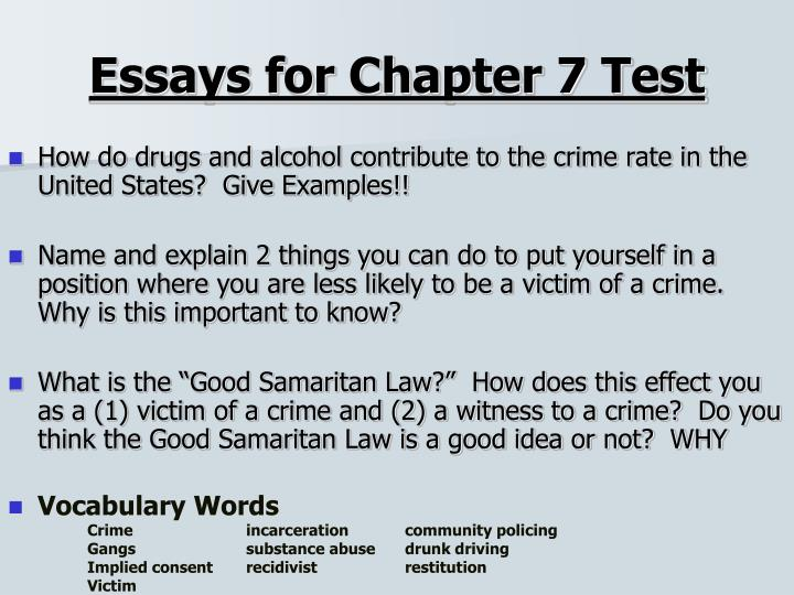 Essays for Chapter 7 Test
