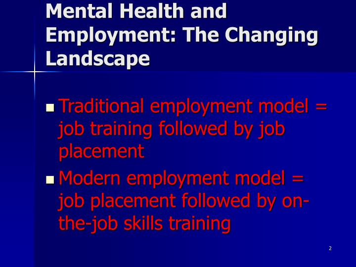 Mental Health and Employment: The Changing Landscape