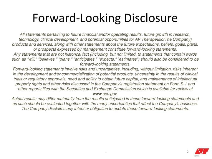Forward-Looking Disclosure