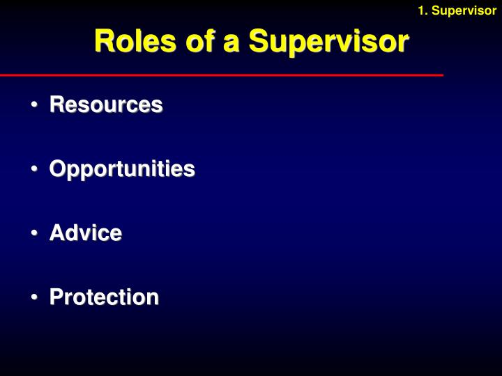 Roles of a Supervisor