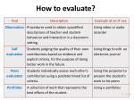 how to evaluate1