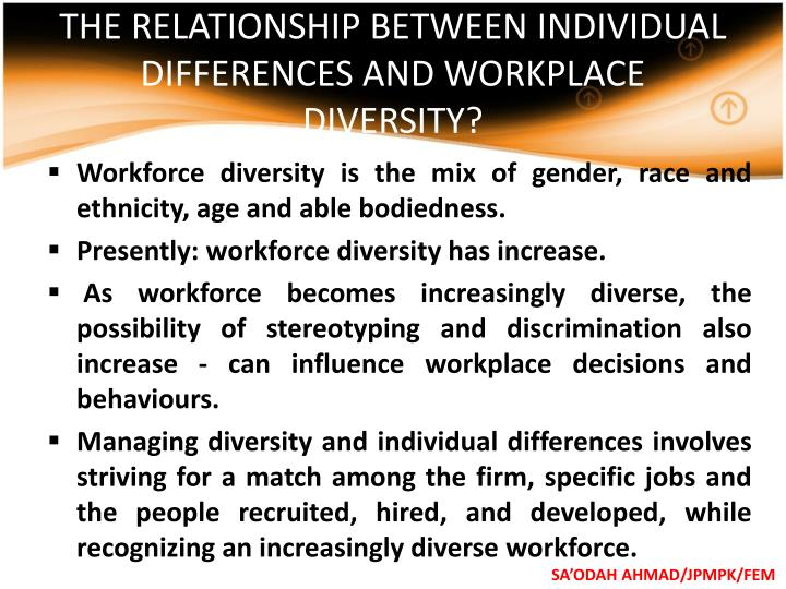 THE RELATIONSHIP BETWEEN INDIVIDUAL DIFFERENCES AND WORKPLACE DIVERSITY?
