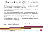getting started qm standards2