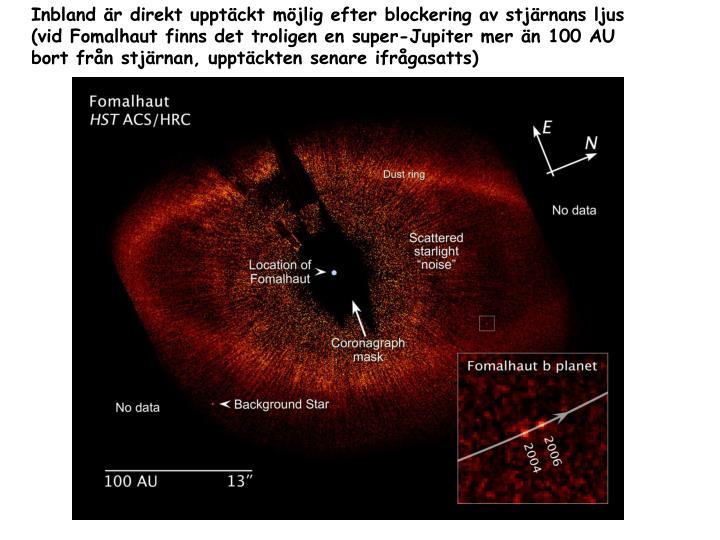 Inbland är direkt upptäckt möjlig efter blockering av stjärnans ljus (vid Fomalhaut finns det troligen en super-Jupiter mer än 100 AU bort från stjärnan, upptäckten senare ifrågasatts)