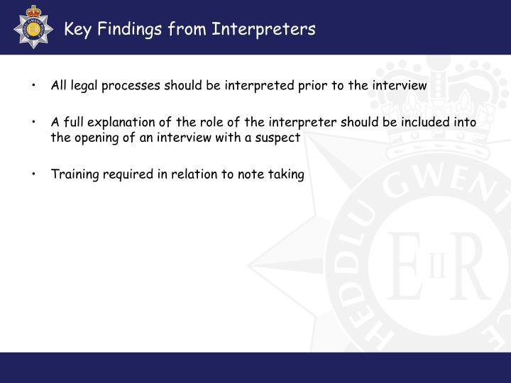 Key Findings from Interpreters