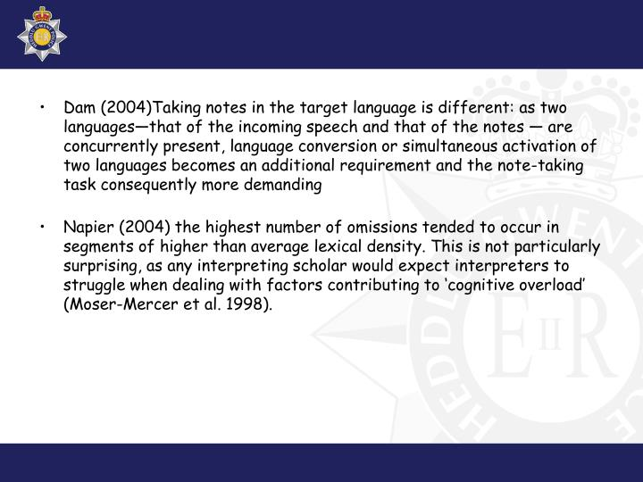 Dam (2004)Taking notes in the target language is different: as two languages—that of the incoming speech and that of the notes — are concurrently present, language conversion or simultaneous activation of two languages becomes an additional requirement and the note-taking task consequently more demanding