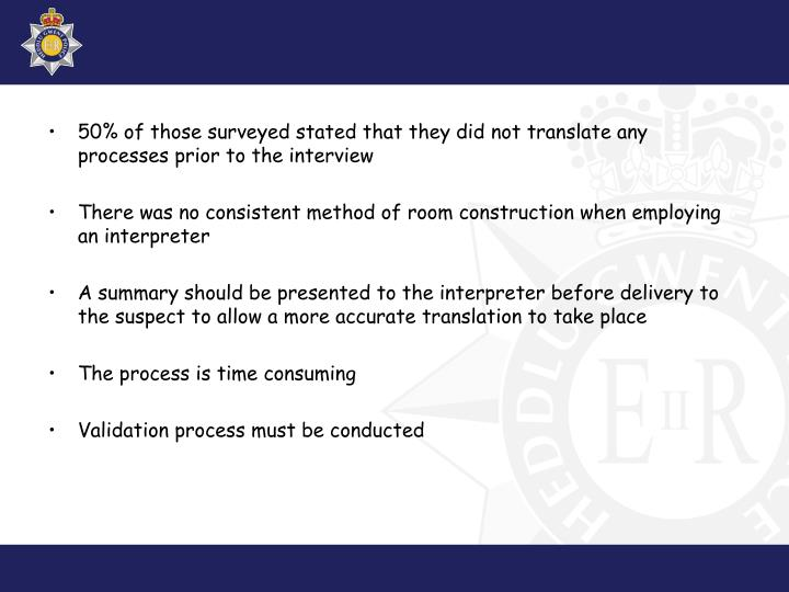 50% of those surveyed stated that they did not translate any processes prior to the interview
