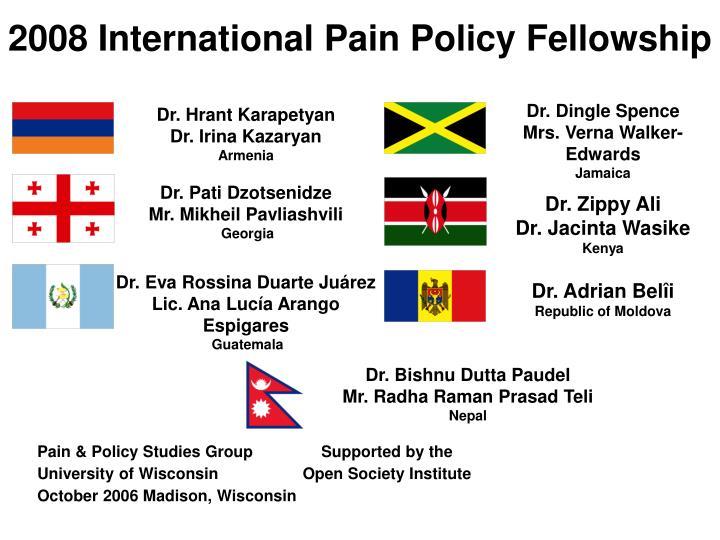 2008 International Pain Policy Fellowship