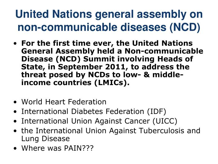 United Nations general assembly on non-communicable diseases (NCD)