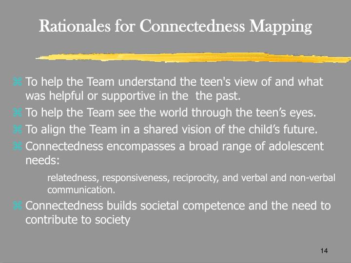 Rationales for Connectedness Mapping