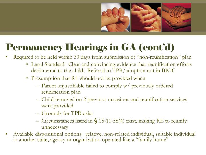 Permanency Hearings in GA (cont'd)