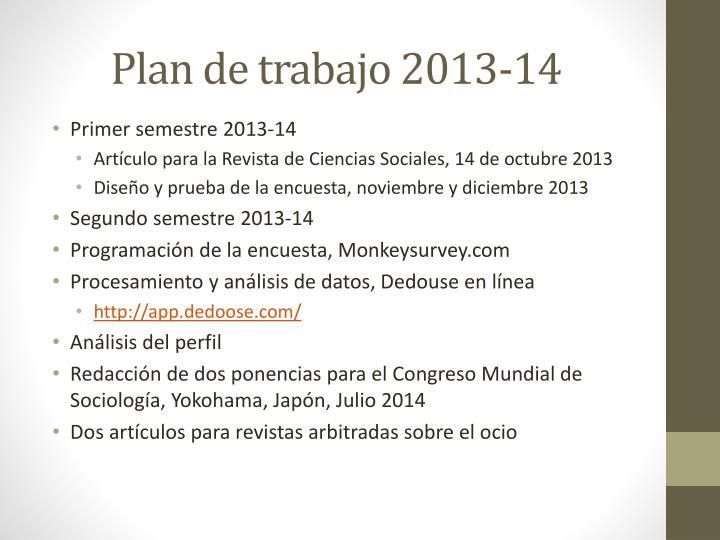 Plan de trabajo 2013-14