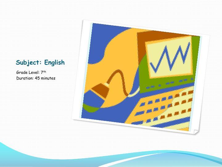 Subject english