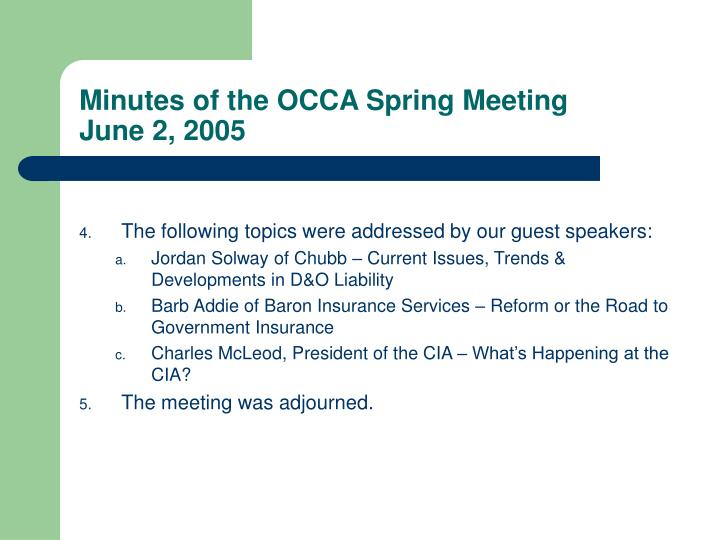 Minutes of the occa spring meeting june 2 20051
