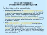 rules of procedure for mediation and conciliation