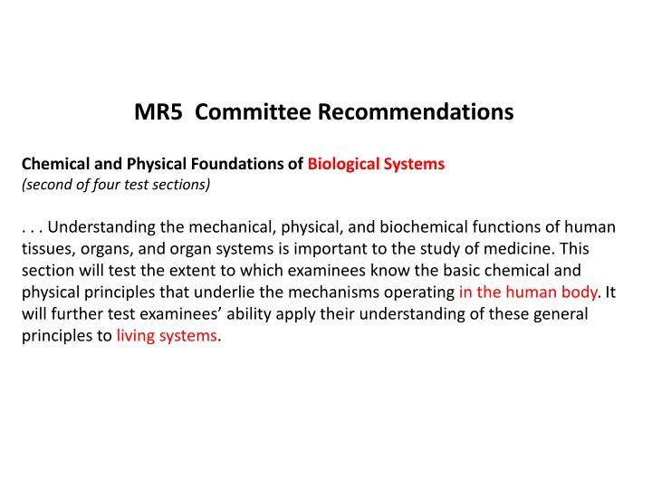 MR5  Committee Recommendations
