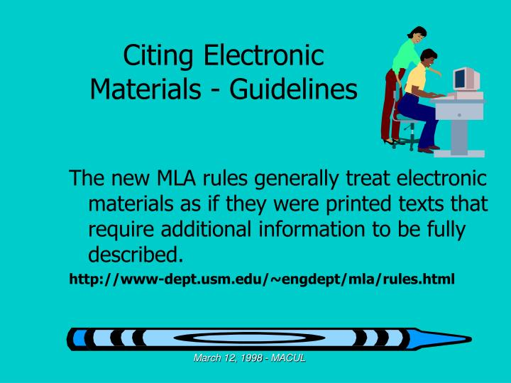 Citing Electronic Materials - Guidelines