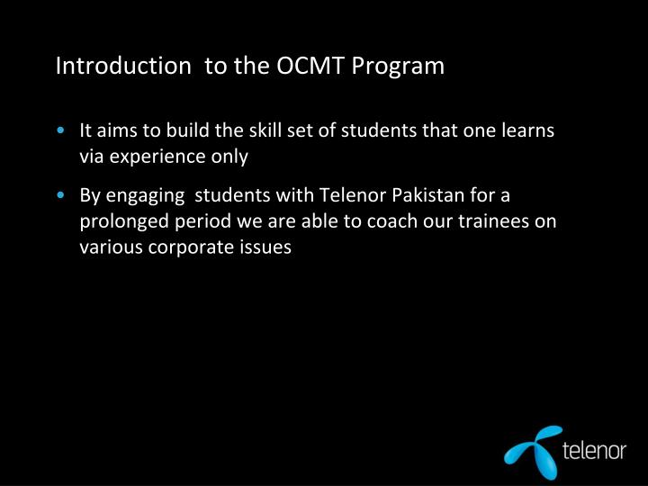 Introduction to the ocmt program