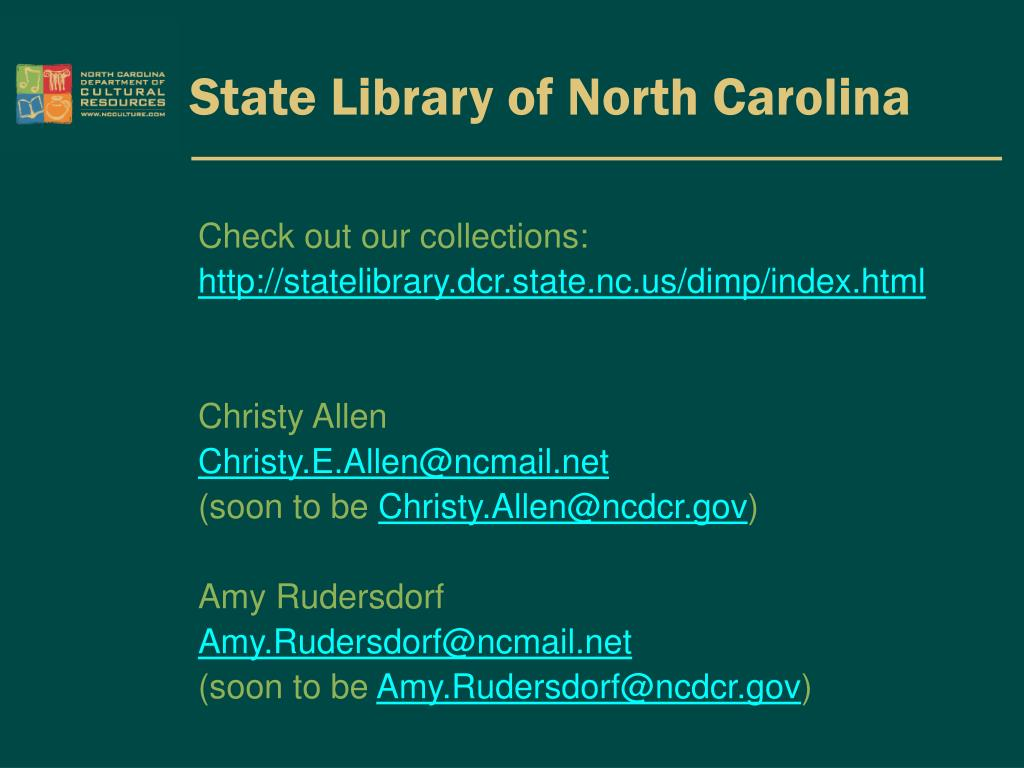 PPT - Christy Allen & Amy Rudersdorf State Library of North