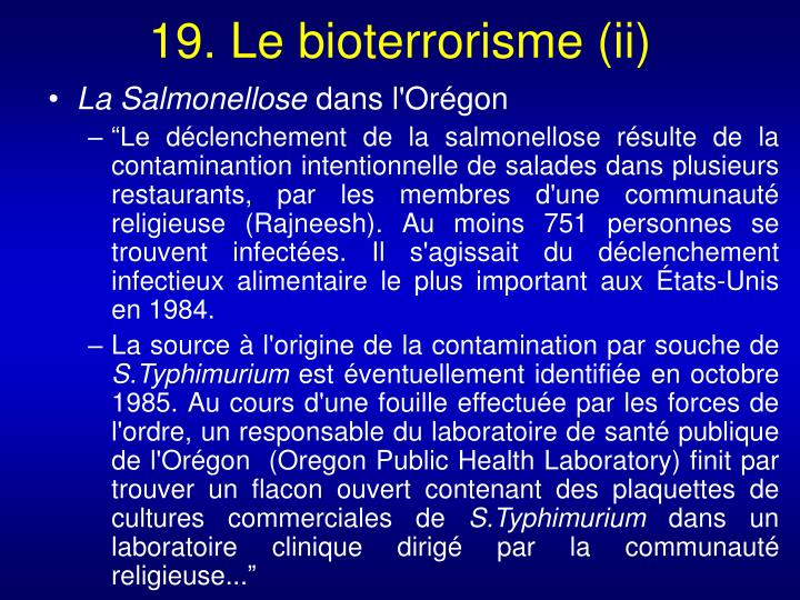 19. Le bioterrorisme (ii)