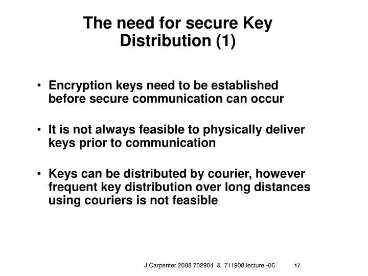 The need for secure Key Distribution (1)