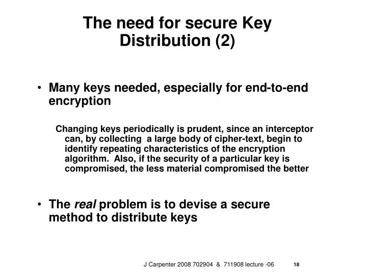 The need for secure Key Distribution (2)