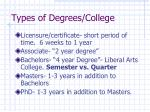 types of degrees college