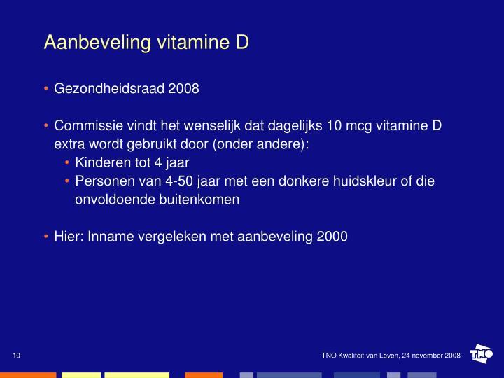Aanbeveling vitamine D